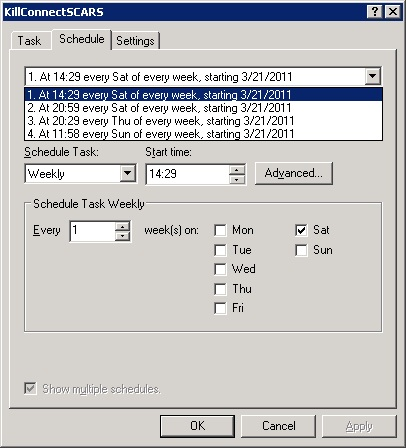 Multiple Schedules for the End Scheduled Task